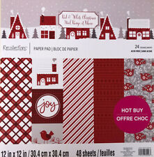 RED & WHITE X-MAS~12X12 SCRAPBOOK CARDSTOCK PAPER PAD 48 LOT~RECOLLECTIONS~FOIL