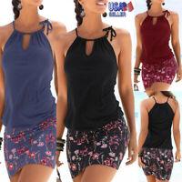 US Women Summer Casual Beach Halter Sleeveless Dress Boho Floral Print Sundress