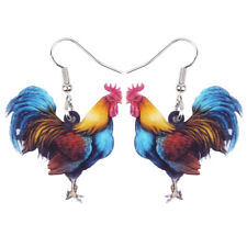 Acrylic Floral Rooster Chicken Earrings Dangle Fashion Jewelry For Women Charms