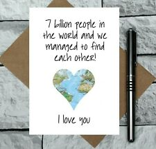 romantic Valentine's Day card - map anniversary card - cute I love you card