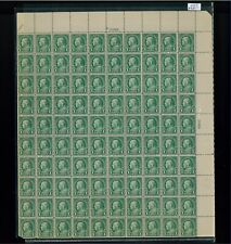 1923 United States Postage Stamp #552 Plate No. 15399 Mint Full Sheet