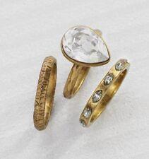 Silpada Shine Bright Stack Ring KRR0103 Swarovski Crystal Brass Size 8