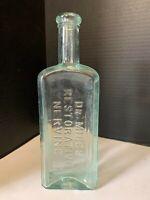 Vintage Dr Miles Restorative Nervine Embossed Glass Medicine Bottle