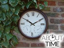 Outdoor Garden Wall Clock Antique Bronze Rust Effect Thermometer Indoor Metal