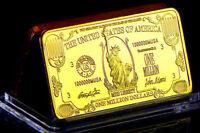 ★★ JOLI MEDAILLE PLAQUéE OR ● USA ● BILLET DE 1000000 DOLLARS  ★★