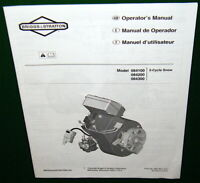 BRIGGS & STRATTON ENGINE Manual Models 084100 084200 084300 Came w- Snow Blower
