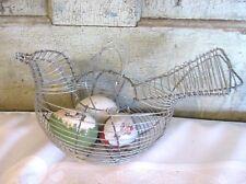 Primitive Wire Woven Wire Bird Chicken Egg Gathering Basket Metal w 3 Eggs