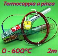 SONDA TERMOCOPPIA DI TIPO K A PINZA 600°C morsetto termometro per tubo piastra