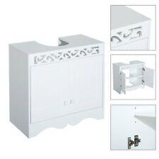Homcom mueble armario bajo lavabo de Baño 2 puertas y estantes 60x30x56cm blanco