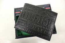 NWT TOMMY HILFIGER LEATHER WALLET PASSCASE BILLFOLD BLACK 0091-4459/01 $48.00