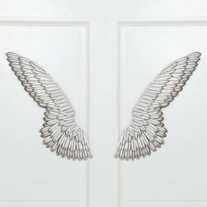 LARGE Angel Wings Wall Art Silver Ornament Pair Chic Vintage Home Decoration