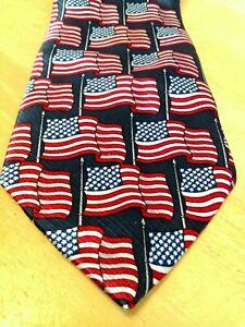 Men's American Traditions USA Flag Classic 100% Silk USA Necktie