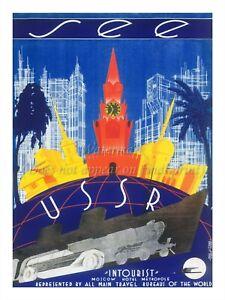 "Soviet Russian Vintage Travel Poster Print SEE USSR / INTOURIST 18x24"" #TR07"