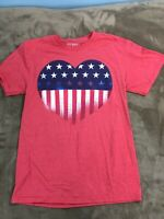 Women USA American Flag 4th Of July Stars Stripes Patriotic Red tee T-Shirt A14