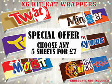 x6 Rude KitKat Chocolate Bar Wrappers Novelty Funny Joke Birthday Fathers Day