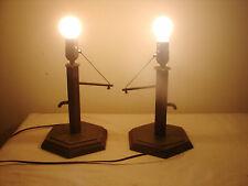 One Pair of Copper Water Well Hand Pump Table Lamps