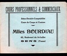 "SENS (89) Buvard / COURS de STENO-DACTYLO-COMPTABILITE ,COUTURE ""Mlles BOURDIAU"""