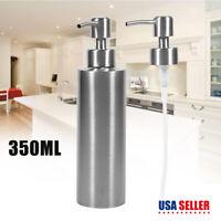 350ML Stainless Steel Sink Soap Dispenser Polish Liquid Pump Bottle Kitchen US