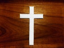 New White Cross Embroidered Iron on Patch