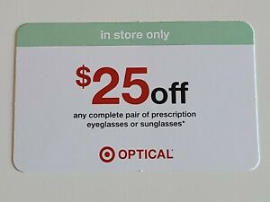 Target Optical $25 off Prescription Glasses Lenses Coupon EXP 12/31/20