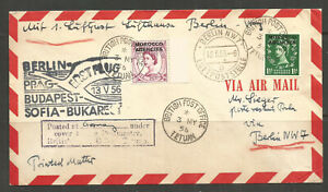 *OSBURGH - GREAT BRITAIN / MOROCCO AGENCIES / GERMANY. 1956. AIR MAIL COVER. QE2