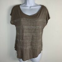 Apt 9 Womens Top Sz M Brown Short Sleeve Silver Bling T Shirt Casual V Neck S16