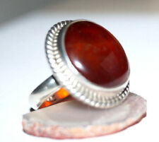 Silberring 56 Karneol Orange Braun Handarbeit Silber Ring Kordel Elegant Oval