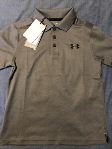 Boy's Under Armour Polo Style S/S Shirt- Gray Size Youth Small YSM- NEW NWT