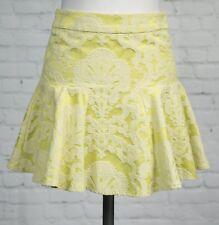 Top Shop Short Acid Green Skater Flare Flared Skirt Size 8 Brocade Flippy Hem