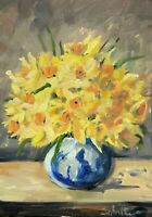 Print of Original oil painting art floral daffodils impressionism shabby chic