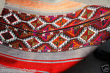 Antique 1940-1950's Camel Bag Chuval Sumak Embroidered Panels Folk-Art Rug