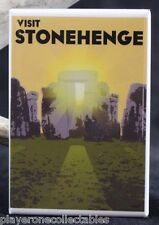 "Stonehenge Vintage Travel Poster - 2"" X 3"" Fridge Magnet. England Druids"