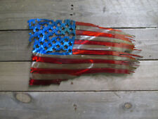 Stained and Coated Metal American Battle Torn Flag 14""