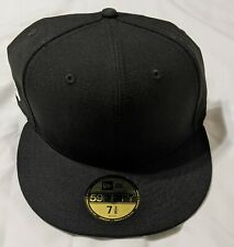 NEW ERA UNDEFEATED 7 3/8 Flat Brim Blank Front Hat Cap Black NEW 2017 Authentic