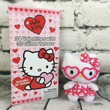 TY Valentine Hello Kitty Pink Glasses Plush Glitter Tattoos 34 Valentines Cards
