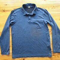 ROHAN MERINO UNION 150 POLO MEDIUM  BLUE MARL LOOSE Long Sleeve POLO T-SHIRT Vgc