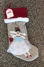 NWT Pottery Barn Kids WOODLAND dark skinned angel Christmas stocking NO MONO
