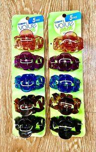 Conair Hair Clip Jaw Clip Pink Purple Blue Black Brown 2 Packs of 5 Each