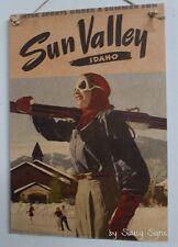 Sun Valley Idaho Skiing Vintage Retro Advertising Travel Poster Wooden Sign Snow