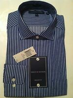 NWT Mens Tommy Hilfiger Navy/White Easy Care Bold Stripe Dress Shirt 15.5 32-33