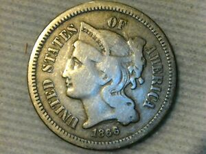 1866 Three Cent Nickel Piece **Doubling On Date + Die Crack**