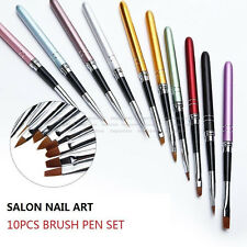 10Pcs 3D Nail Art Painting Brush Pen Set Colorful Metal For UV Gel Design Polish