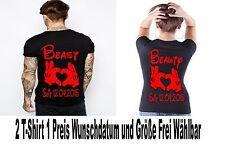 Beauty Beast T Shirt Partner Look 2 Stück Varianten Viele Farben XS - 5XL