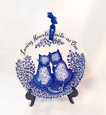 Royal Crownford Ironstone Blue & White Cat Plate Wall Hanging Dish ENGLAND