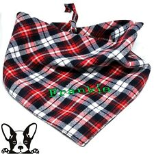 Personalised Embroidered Dog Bandana Red Black & White Tartan Tie on Large Dog