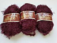 3 Skeins Patons ALLURE Eyelash Fur Yarn RUBY- Discontinued