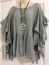 Stunning Lagenlook-Gypsy/frill Linen top-One Size-12- 16 - Silver Grey