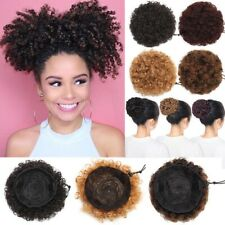 Natural Afro Hair Bun Synthetic Kinky Curly Ponytail Puff Drawstring Extensions