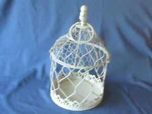 Decorative Ornamental White Wire Birdcage Freestanding Or Hanging Planter Candle