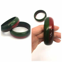 Vintage VTG Set of Bakelite Red Green Laminated Wide Bangle Bracelet